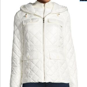 Kate Spade packable quilted short coat w/ bow